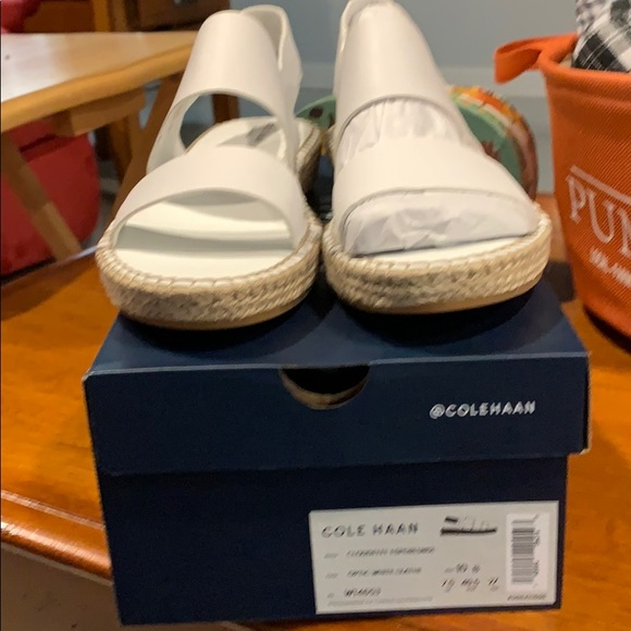 White Cole Haan Ladies Sandals size 10 new